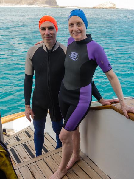 Joel and Karen in wet suits