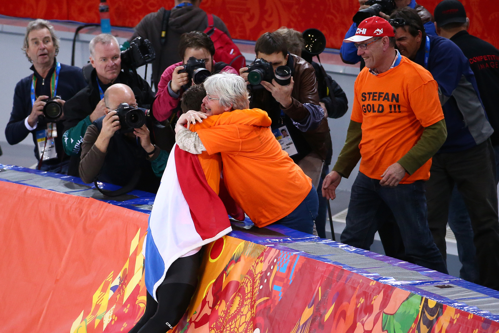 . Stefan Groothuis of the Netherlands celebrates winning the Men\'s 1000m Speed Skating event during day 5 of the Sochi 2014 Winter Olympics at at Adler Arena Skating Center on February 12, 2014 in Sochi, Russia.  (Photo by Streeter Lecka/Getty Images)