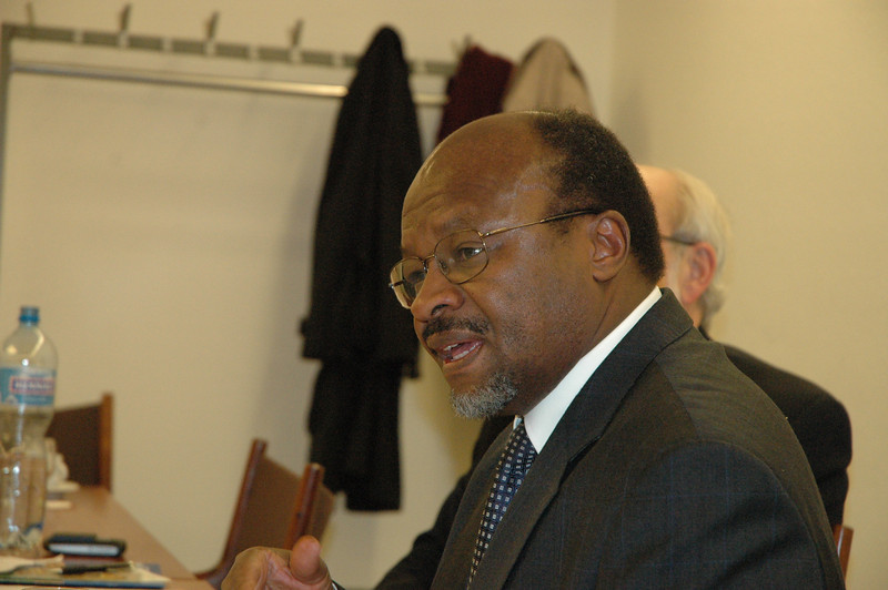 The Rev. Ishamel Noko, LWF general secretary, answers a qustion for the ELCA delegation Feb. 15 in Geneva.