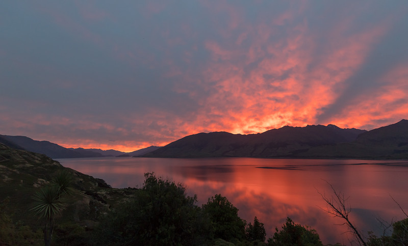 Lucky to capture this sunset when we arrived at the Lake Wanaka Lookout