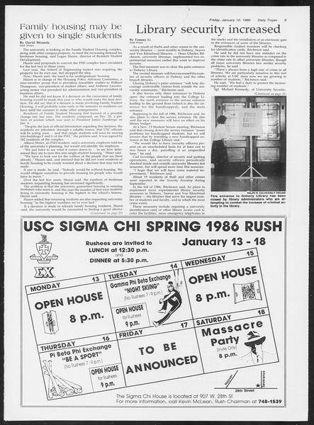 Daily Trojan, Vol. 100, No. 1, January 10, 1986