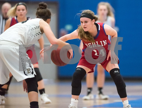 02/20/18 Wesley Bunnell   Staff Berlin girls basketball was defeated 80-50 by Enfield at Glastonbury High School on Tuesday night during the CCC tournament. Angela Perrelli (14).