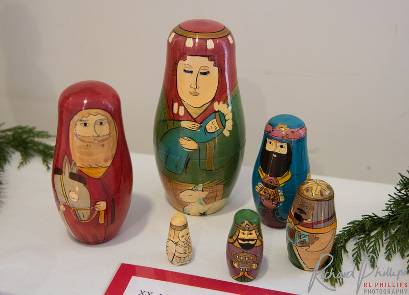 """Russian dolls nest inside each other. Mary is revered in the Russian Orthodox Church as the 'theotokos"""", Mother of God and therefore is the largest figure in the nest."""