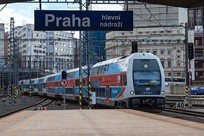 City Elefant Skoda Class 471 042-2 enters Prague on service S7