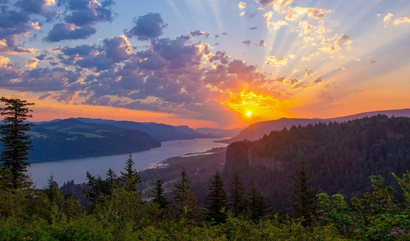 Sunrise Over Columbia River Gorge