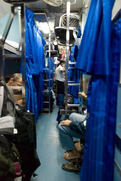 Night train from Chiang Mai to Bangkok. Turning down the berths.