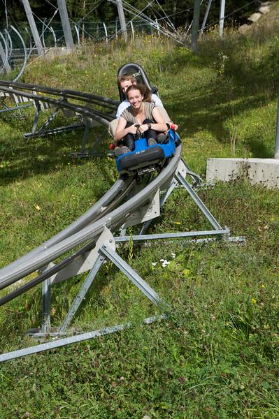 Lexi and Ben enjoying the slide