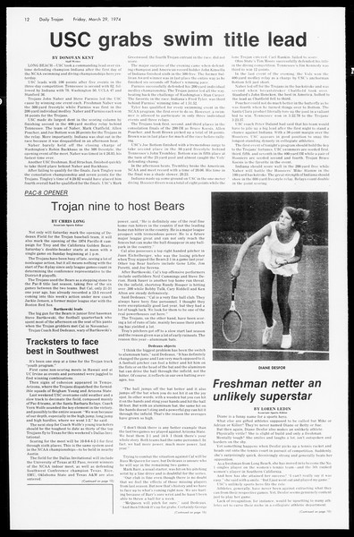 Daily Trojan, Vol. 66, No. 101, March 29, 1974