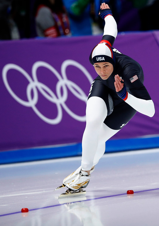 . Fifth place Brittany Bowe of the U.S. competes during the women\'s 500 meters speedskating race at the Gangneung Oval at the 2018 Winter Olympics in Gangneung, South Korea, Sunday, Feb. 18, 2018. (AP Photo/Vadim Ghirda)