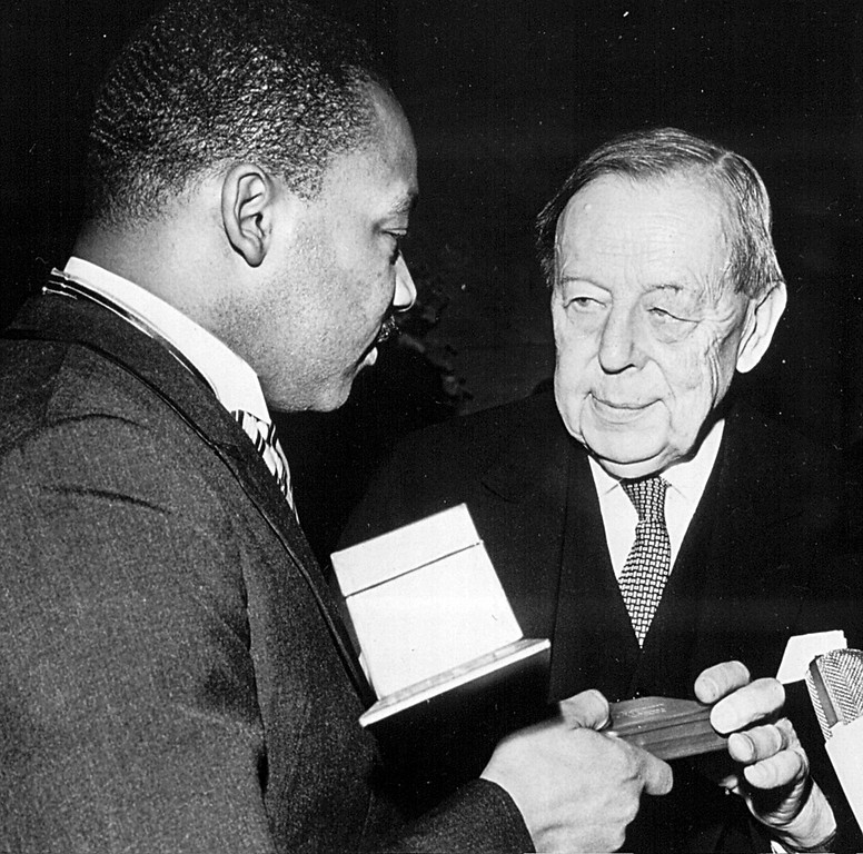 . Rev. Martin Luther King receives the Nobel Prize for Peace in 1964. (photo by National Archive/Newsmakers)