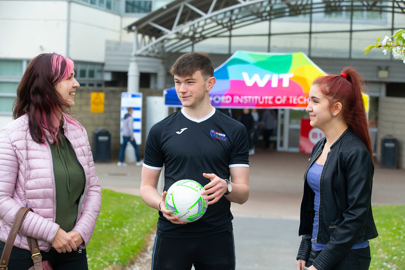 30/03/2019. FREE TO USE IMAGE. Thousands of CAO, part-time and postgraduate applicants visited WIT's Spring open events on Friday evening and Saturday morning. WIT is Ireland's top ranked institute of technology. Pictured are Mirka Madusek and Nikolai from Enniscorthy with Darryl Walsh WiT Viking scholarship student. Picture: Patrick Browne