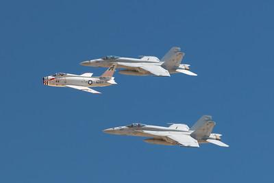 U.S. Navy F/A -18 and FJ-4B Fury