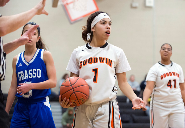 01/31/20 Wesley Bunnell   StaffrrE.C. Goodwin girls basketball defeated Grasso Tech on Friday January 31, 2020 at home. Aiyana Montes (1) disagrees with an officials call.
