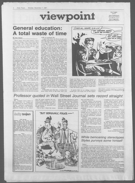 Daily Trojan, Vol. 105, No. 64, December 07, 1987