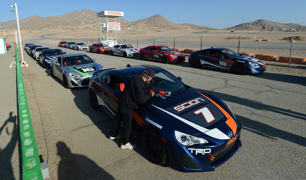 . Rosamond, Calif., -- 03-23-13-  Toyota Pro/ Celebrity Race participants cars ready for a practice session at Willow Springs Raceway. The Toyota Pro/Celebrity Race helps raise money on behalf of Racing for Kids, a fundraising program benefiting Miller Children�s Hospital in Long Beach and Children�s Hospital of Orange County. On behalf of the race and its participants, Toyota has donated more than $2 million to various children�s hospitals since 1991.  Stephen Carr/  Los Angeles Newspaper Group