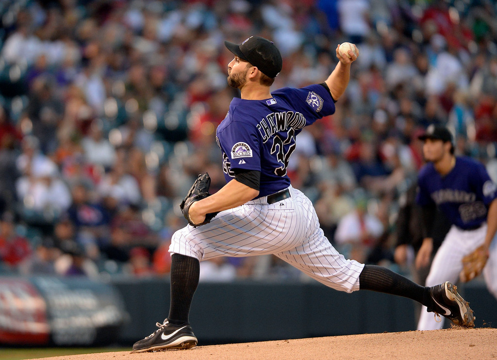 . DENVER, CO. - SEPTEMBER 24: Tyler Chatwood (32) of the Colorado Rockies delivers a pitch in the first inning against the Boston Red Sox September 24, 2013 at Coors Field. (Photo by John Leyba/The Denver Post)