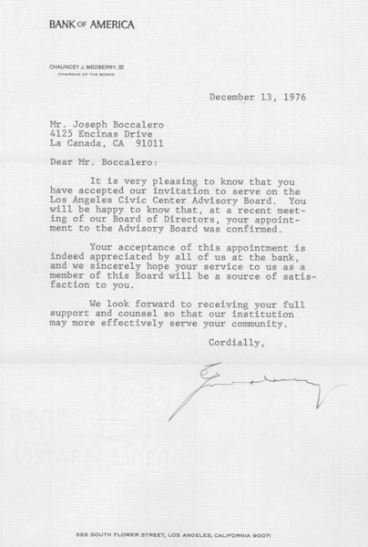 1976, Bank of America Letter