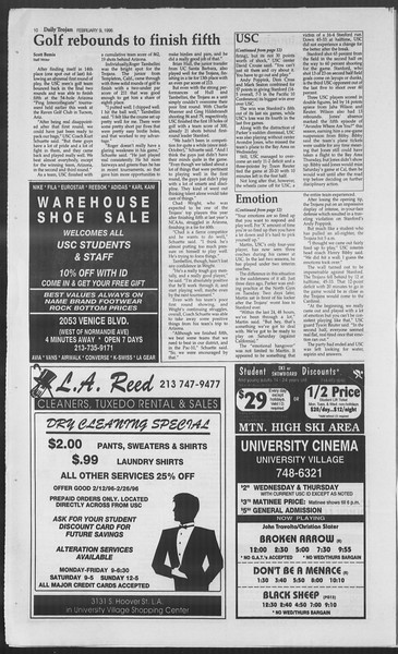 Daily Trojan, Vol. 127, No. 20, February 09, 1996