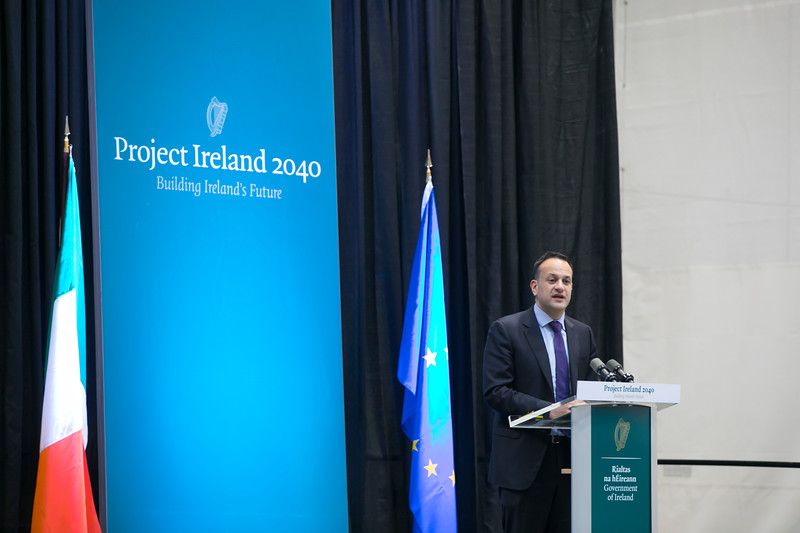 "12/03/2018. Project Ireland 2040. An Taoiseach Leo Varadkar at The Waterford Institute of Technology Arena to present ""Project Ireland 2040"". Picture: Patrick Browne"