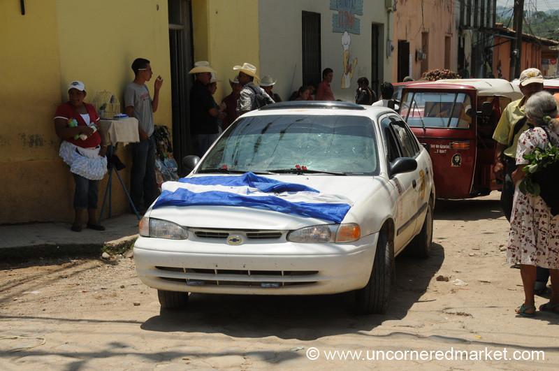 Honduran Flag on a Car, Football Match - Gracias, Honduras