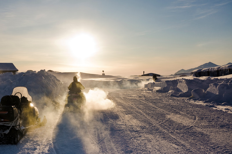 Leaving Mestersvig in late winter, -40°C, North-East Greenland