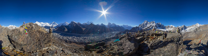 Mount Everest and the Ngozumpa glacier are seen under a rising sun in Nepal's Himalayas.