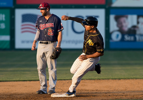 09/03/19 Wesley Bunnell | StaffrrThe New Britain Bees defeated the Somerset Patriots 7-6 in the bottom of the 8th on what was scheduled to be a 7 inning first game of a doubleheader. Jared James (11).