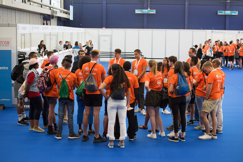 22nd International AIDS Conference (AIDS 2018) Amsterdam, Netherlands   Copyright: Marcus Rose/IAS  Photo shows: Volunteers training and orientation.