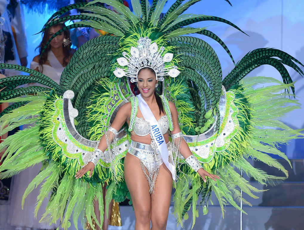 . Erialda Josaine of Aruba dances on the stage during the 53th Miss International Beauty Pageant in Tokyo on December 17, 2013. Miss Aruba was elected Miss National Costume in the beauty pageant.     TORU YAMANAKA/AFP/Getty Images