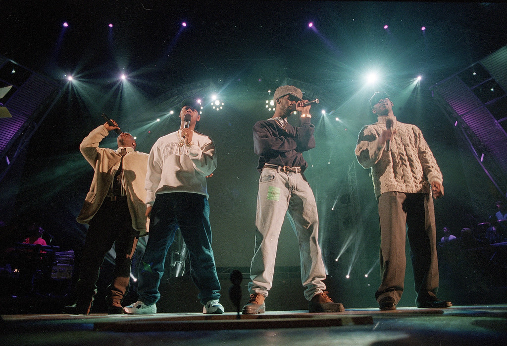 . Boyz II Men members, from left, Wanya Morris, Nathan Vaderpool, Shawn Stockman and Mike McCary rehearse at the Shrine Auditorium in preparation for the Grammy Awards show in Los Angeles, Calif, on Feb. 28, 1995. (AP Photo/Chris Pizello)