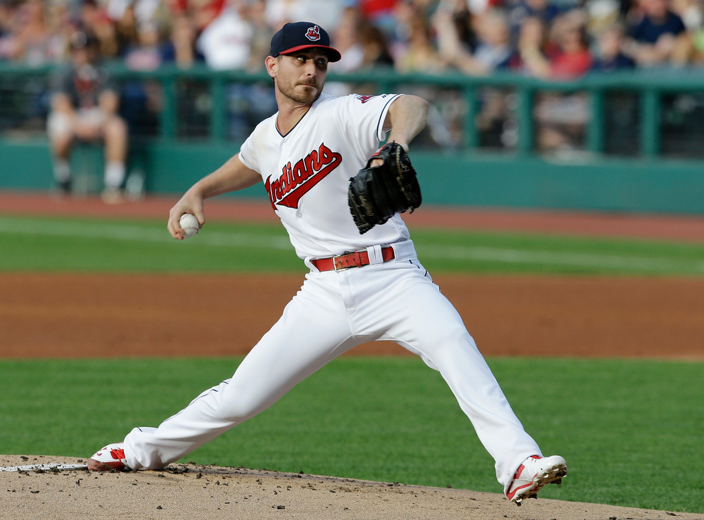 . Cleveland Indians starting pitcher Josh Tomlin delivers in the first inning of the team\'s baseball game against the Chicago White Sox, Saturday, June 10, 2017, in Cleveland. (AP Photo/Tony Dejak)