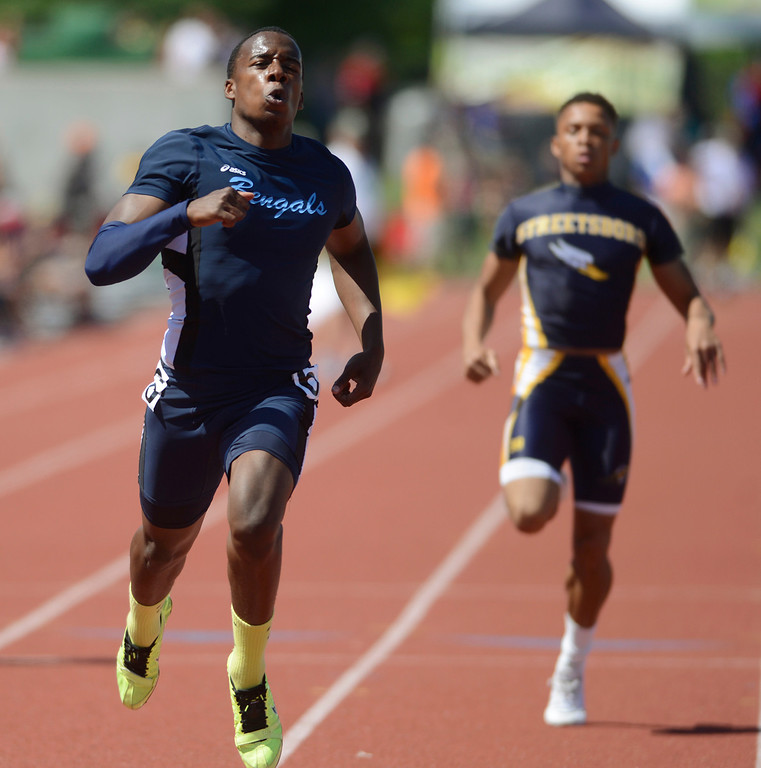 . Maribeth Joeright/MJoeright@News-Herald.com <p> Benedictine\'s Marquee Montgomery qualifies for the finals by finishing first in his heat in the Division II boys 200 meter dash during the state championship meet in Columbus,  June 6, 2014.