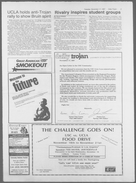 Daily Trojan, Vol. 105, No. 53, November 17, 1987