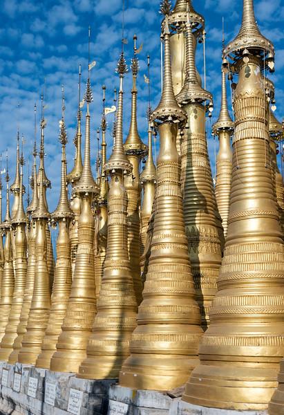 Golden stupas of Shwe Inn Thein Pagoda near Inthein (Indein), Shan State, Burma (Myanmar)