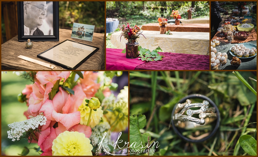 Collage of photos of wedding details