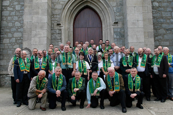The All Ireland delecates of Irish National Foresters  who attended the Foresters Convention in Rostrevor at the weekend, Pictured after mass with Rostrevor priest Fr Michael Hackett, 07W32N301