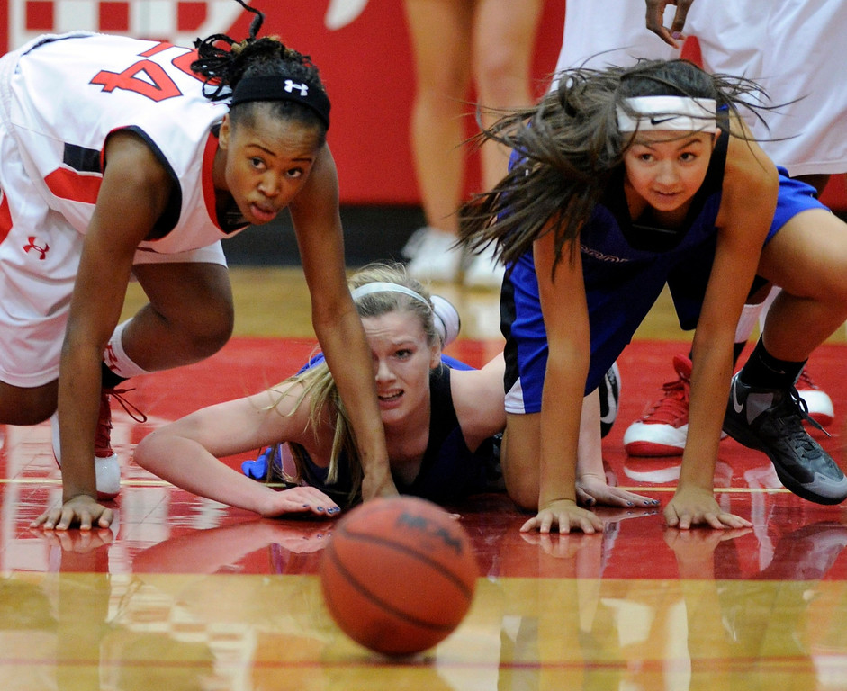 . The Regis Jesuit High School girl\'s  basketball team defeated Grandview 59-53 Saturday night, January 12, 2013. Karl Gehring/The Denver Post