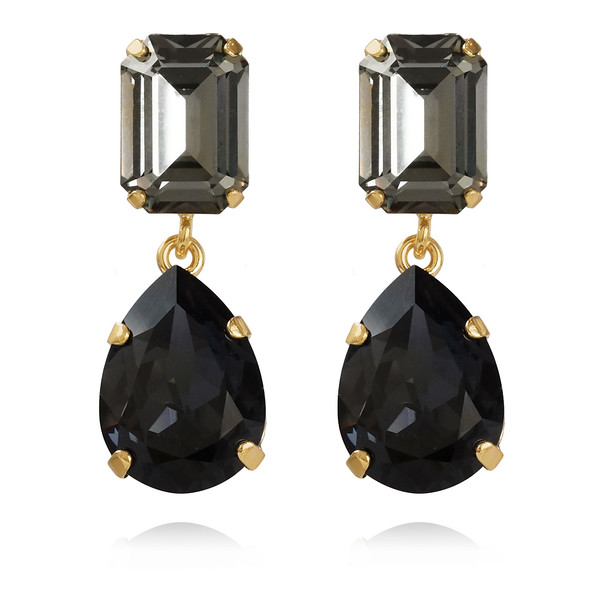Lydia Earrings / Back Diamond + Graphite Gold