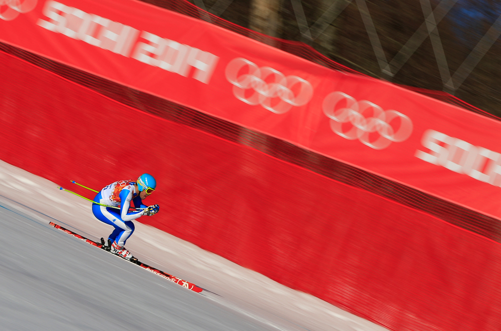 . Italy\'s Christof Innerhofer competes during the Men\'s Alpine Skiing Super Combined Downhill at the Rosa Khutor Alpine Center during the Sochi Winter Olympics on February 14, 2014.  (ALEXANDER KLEIN/AFP/Getty Images)