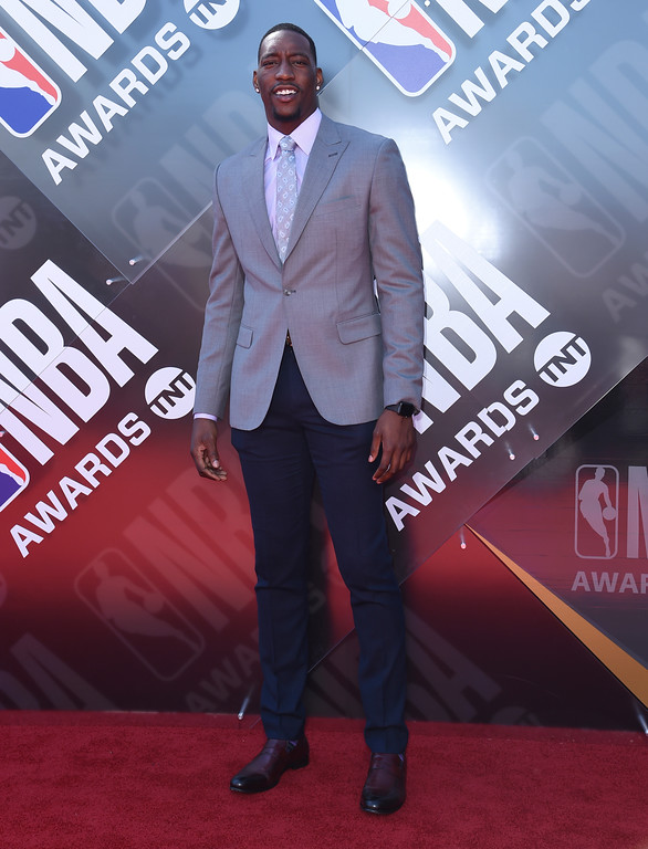 . Bam Adebayo, of the Miami Heat, arrives at the NBA Awards on Monday, June 25, 2018, at the Barker Hangar in Santa Monica, Calif. (Photo by Richard Shotwell/Invision/AP)