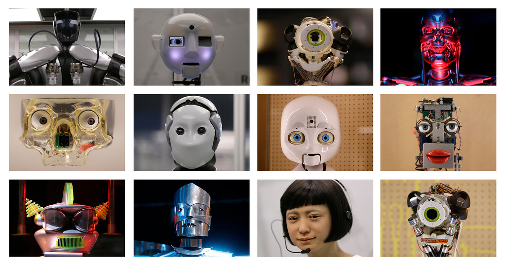 . This combination photo shows a selection of robot faces, from futuristic comic book to life like newsreaders, on display during a press preview for the Robots exhibition held at the Science Museum in London, Tuesday, Feb. 7, 2017. The exhibition which shows 500 years of mechanical and robotic advances is open to the public form Feb. 8 through to Sept. 3. (AP Photo/Alastair Grant)