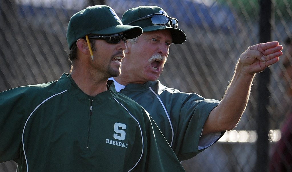 . South (Torrance) head coach Grady Sain, left, and a unidentified coach yells at the home plate umpire (not pictured) after Northview won 5-4 during a CIF-SS prep second round playoff baseball game at Northview High School on Tuesday, May 21, 2013 in Covina, Calif.  (Keith Birmingham Pasadena Star-News)