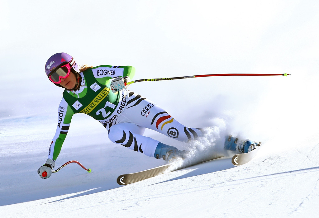 . Germany\'s Maria Hoefl-Riesch makes a turn during the women\'s World Cup Downhill skiing event, Friday, Nov. 29, 2013, in Beaver Creek, Colo. (AP Photo/Alessandro Trovati)
