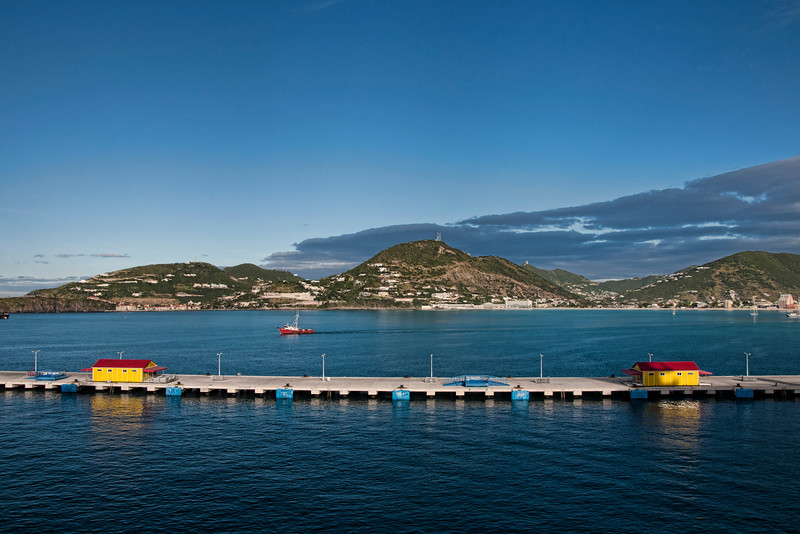 St. Maarten port in the early morning.