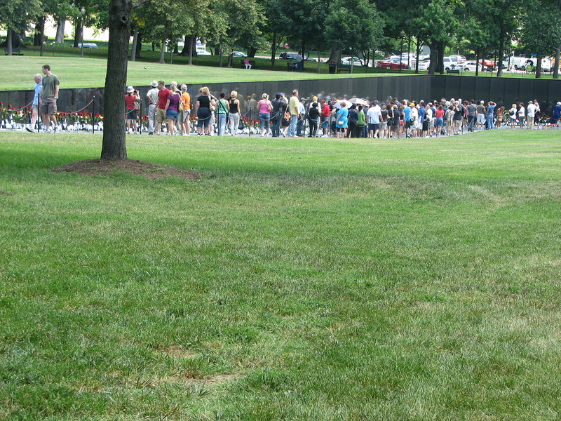 The Vietnam wall rises out of the ground on both sides and comes to a point in the middle. There are SO many names on there. It's very humbling.