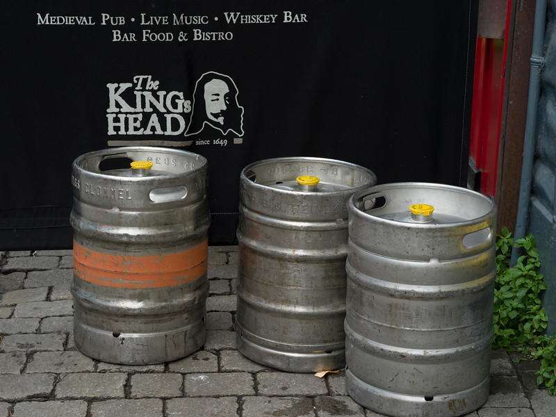 Empty beer barrel outside pub, Galway City, County Galway, Ireland