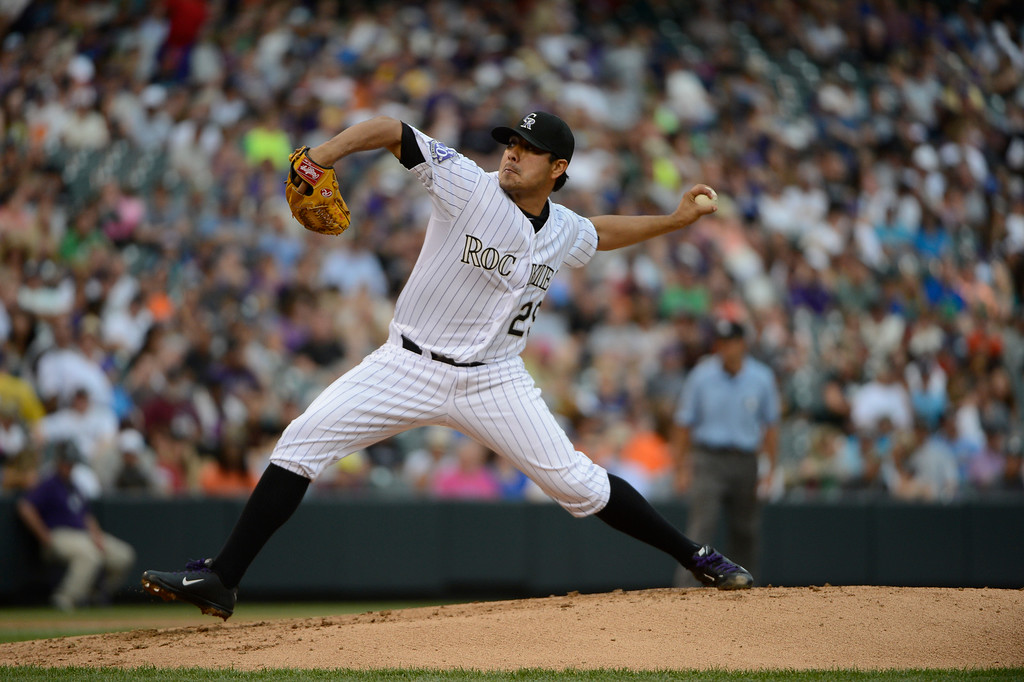 . DENVER, CO - JUNE 27: Colorado Rockies pitcher Jorge De La Rosa pitches against the San Francisco Giants at Coors Field Saturday afternoon, June 29, 2013. (Photo By Andy Cross/The Denver Post)