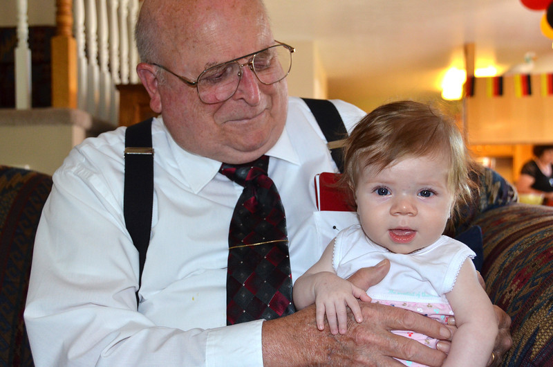 2012-7-8 ––– This photo is one Aili will want to save for ever. Today was Sean's mission homecoming so everyone came to hear him speak in church and then crashed at our house for lots of good food. This is Aili with her great grandpa Mac. Hopefully he is around long enough that she gets to know him and remember him. Aili has three of her great grandparents that are alive and doing well. In my book that is an extra special treat.