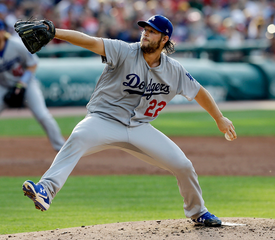 . Los Angeles Dodgers starting pitcher Clayton Kershaw delivers in the first inning of an interleague baseball game against the Cleveland Indians, Tuesday, June 13, 2017, in Cleveland. (AP Photo/Tony Dejak)
