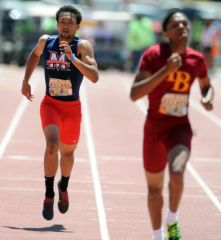 . Kyle Brown of Maranatha finished seventh in the 400 meter dash seeded high school during the Mt. SAC Relays in Hilmer Lodge Stadium on the campus of Mt. San Antonio College on Saturday, April 20, 2012 in Walnut, Calif.    (Keith Birmingham/Pasadena Star-News)